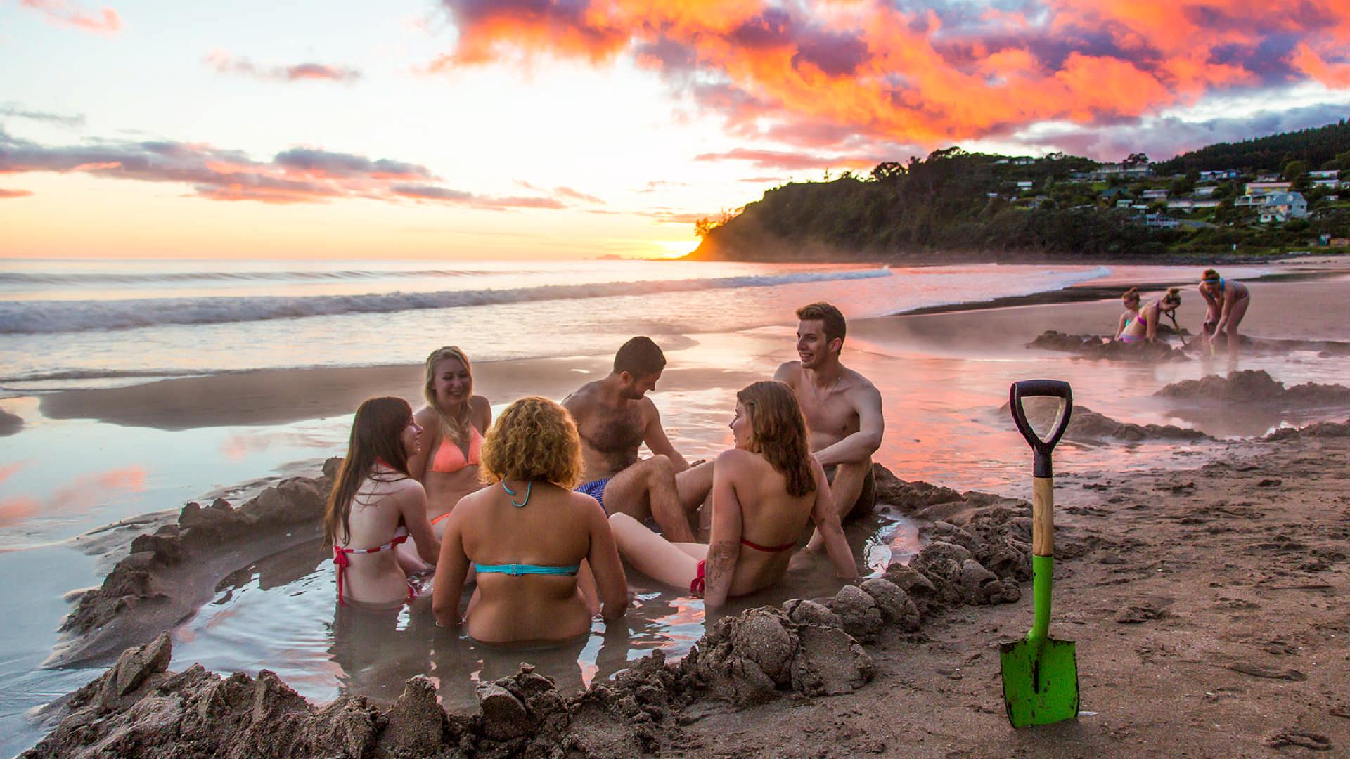 Hot Pools at Sunrise at Hot Water Beach